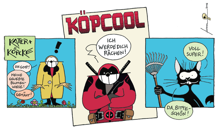 """Köpcool"" Kater + Köpcke Deadpool-Strip"